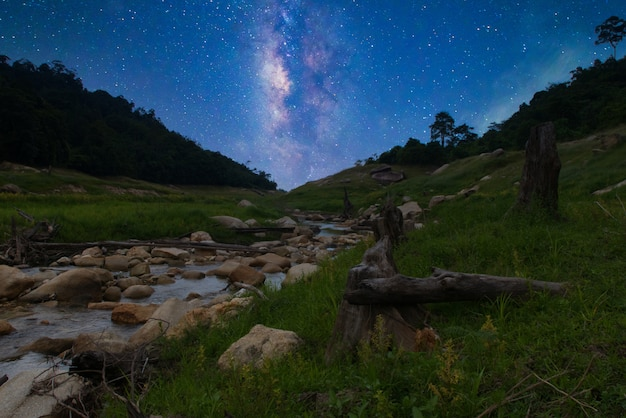 Nature river in the forest and milky way star