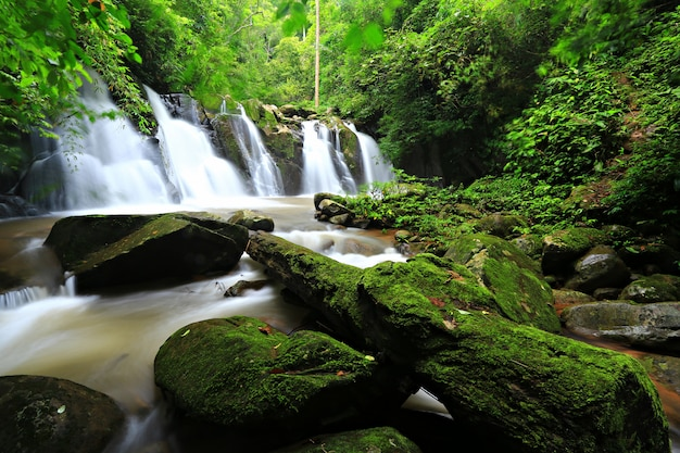 Nature of sapan waterfall, khun nan national park bo kluea nan thailand