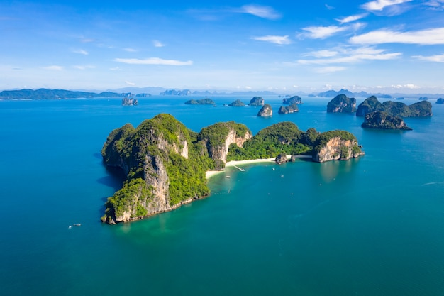 Nature seascape island and mountain green forest with sand beach aerial view