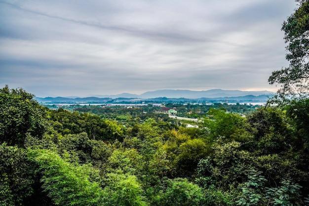 自然の木と空、アジアの田舎の街並みと山が背後にあります。
