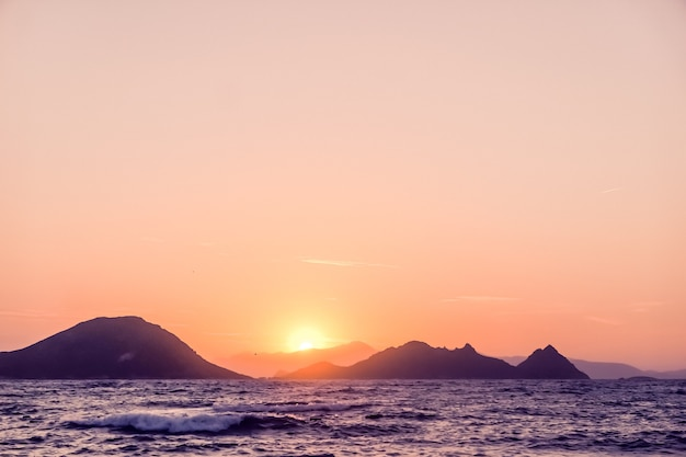 Nature twilight and vintage beach holiday concept  summer sunset at the mediterranean sea coast seas...
