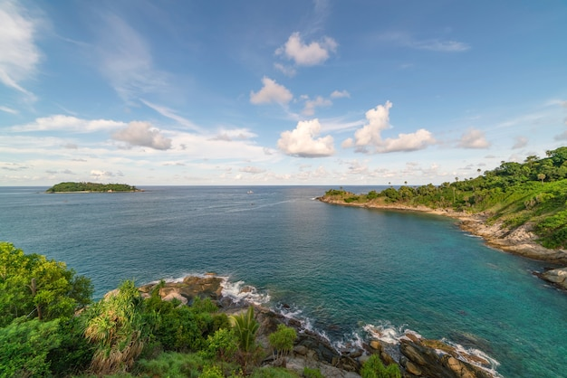 Nature view of laem promthep cape beautiful scenery andaman sea in summer sunny day amazing landscape in phuket thailand beautiful travel background.