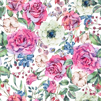 Nature watercolor seamless pattern with rose, anemone, cotton