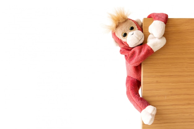 Naughty monkey is hanging on the wood board