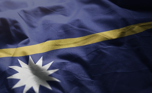 Nauru flag rumpled close up
