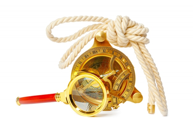 Nautical compass with rope isolated on white