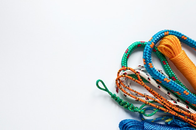 Nautical rope knots copy space flat lay