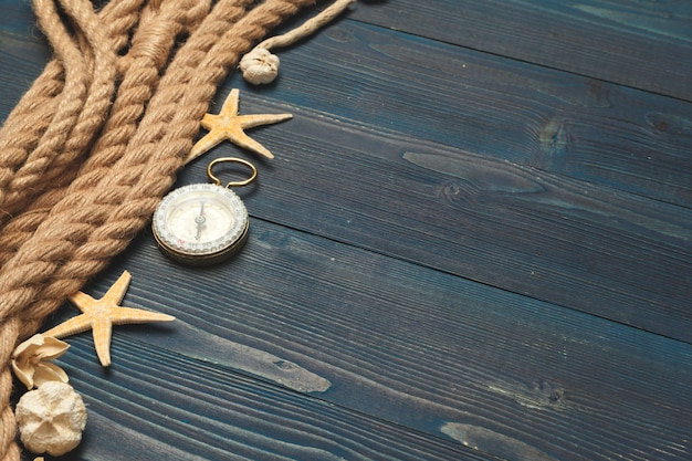 Nautical . sailing rope with a compass