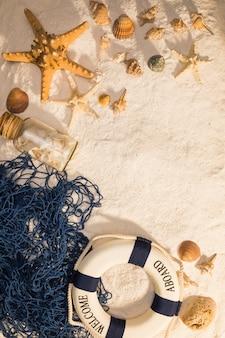 Nautical sea creatures and lifebuoy
