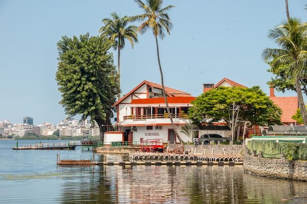 Naval club at lagoa rodrigo de freitas in rio de janeiro, brazil - march 28, 2021: view of the naval club at lagoa rodrigo de freitas in rio de janeiro.
