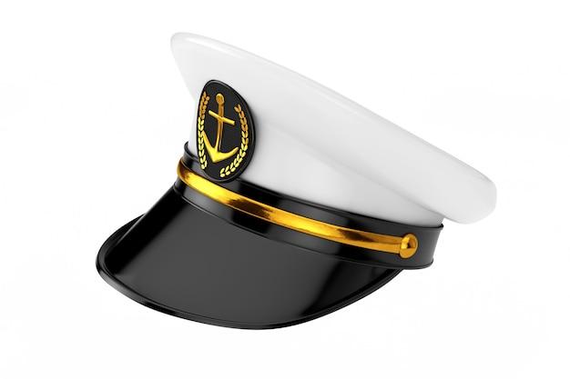 해군 장교, 제독, 흰색 바탕에 해군 함선 캡틴 모자. 3d 렌더링