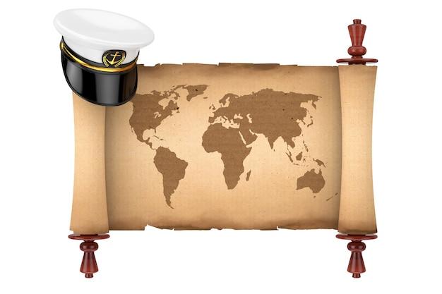 Морской офицер, адмирал, капитан корабля вмф шляпа над старым бумажным пергаментом свитка с картой мира на белом фоне. 3d рендеринг