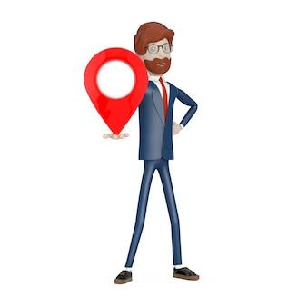ナビゲーションの概念。白い背景の手に赤い地図ポインターピンを持つ漫画のキャラクターの実業家。 3dレンダリング