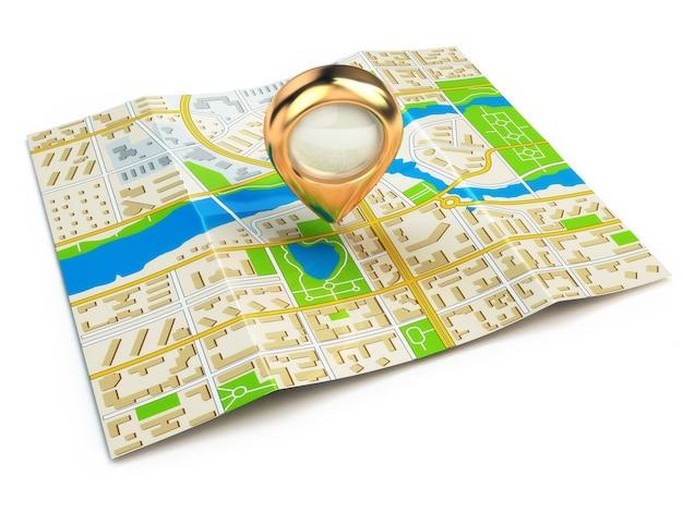 Концепция навигации. gps-карта города и золотая булавка. 3d