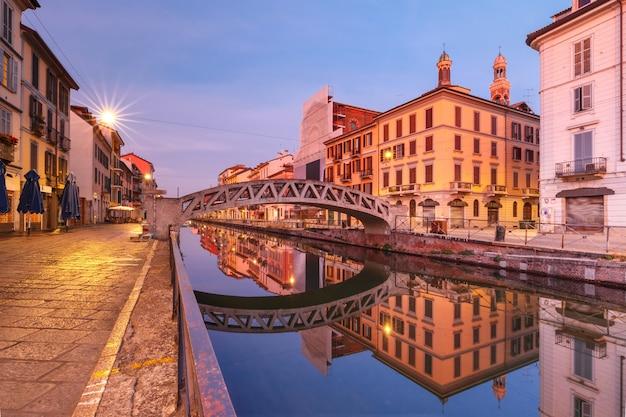 Канал навильо гранде в милане, ломбардия, италия