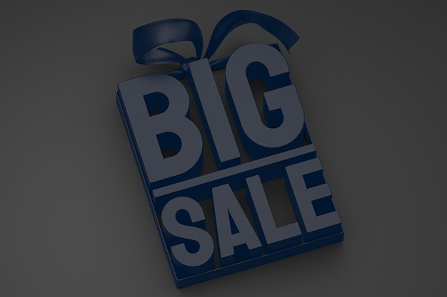 黒の孤立した背景に弓とリボンで販売促進のためのネイビーブルーの大セール3dデザインレンダリング