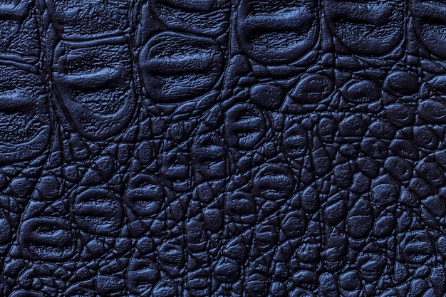 Navy blue leather texture background, closeup