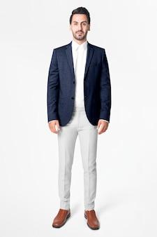 Blazer da uomo blu navy business wear fashion full body