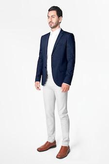 Темно-синий мужской пиджак, деловая одежда, модная одежда для всего тела