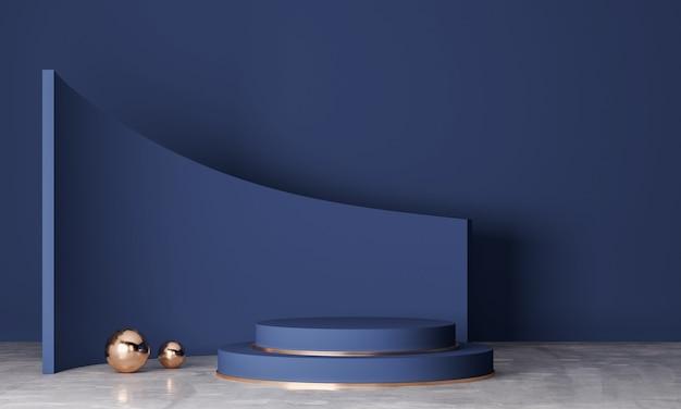 Navy blue podium in minimal background, showcase product