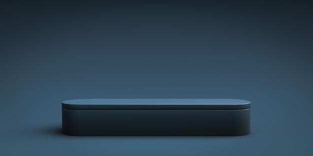 빈 배경으로 광고 디스플레이에 네이비 블루 제품 배경 카운터 또는 연단 받침대. 3d 렌더링.