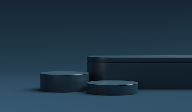 Navy blue product display stand or podium pedestal on advertising background with blank backdrops. 3d rendering.
