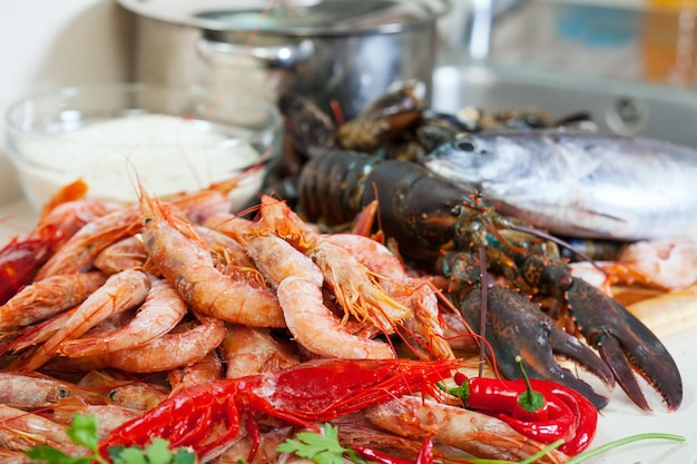 Ncooked sea food specialties ready for cooking