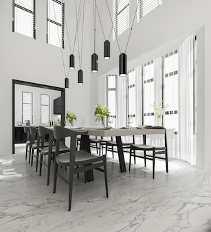 Ndering scandinavian vintage kitchen with dining table