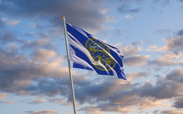 空にネブラスカ州の州旗