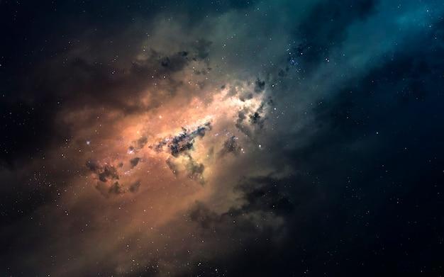 Туманность - межзвездное облако звездной пыли. изображение глубокого космоса, фантастическая фантастика в высоком разрешении идеально подходит для обоев и печати. элементы этого изображения, предоставленные наса