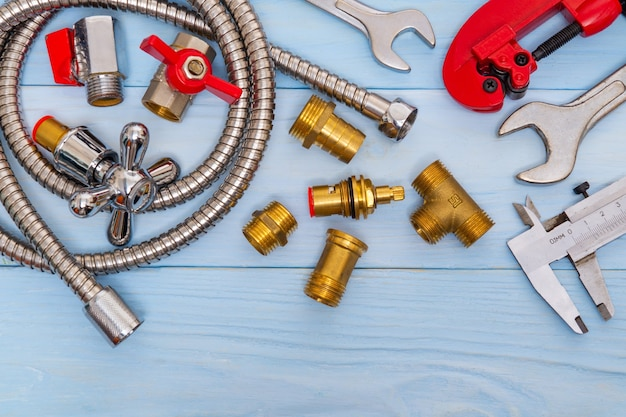 Necessary set of tools and spare parts for plumbers