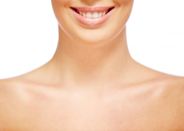 Neck close-up of a natural woman