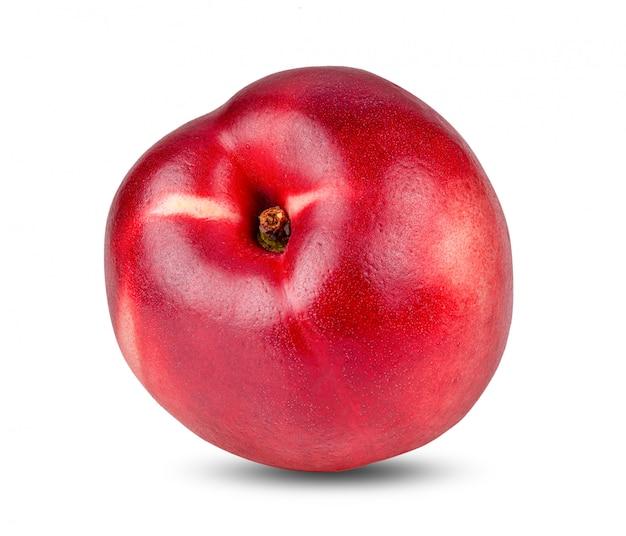 ネクタリンのフルーツは、白い背景で隔離。完全な被写界深度