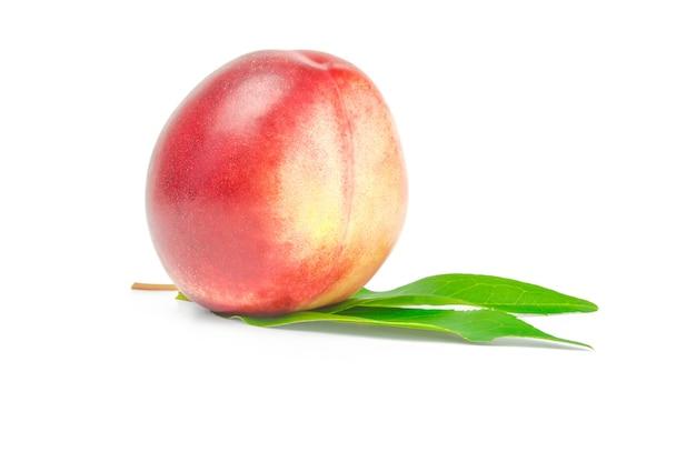 白い切り欠きに分離されたネクタリン果実。