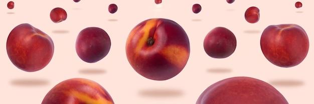 분홍색 배경 위에 공중에 떠 있는 천도 복숭아, 파노라마 이미지