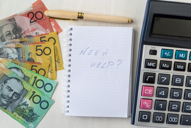 'need help' text on notepad and australian dollars