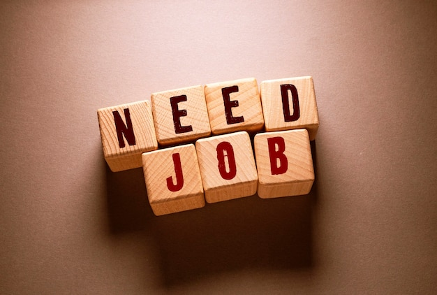Need job word written on wooden cubes