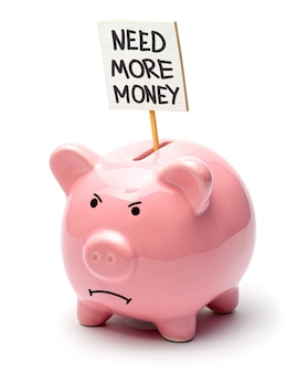 Need more money. pink piggy bank with a poster isolated on a white background. evil pig face.