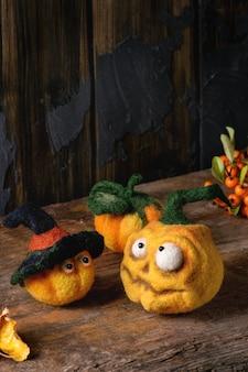 Needle felted pumpkin jack