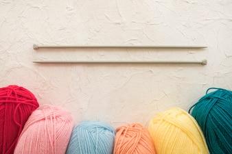 Needles near soft yarn