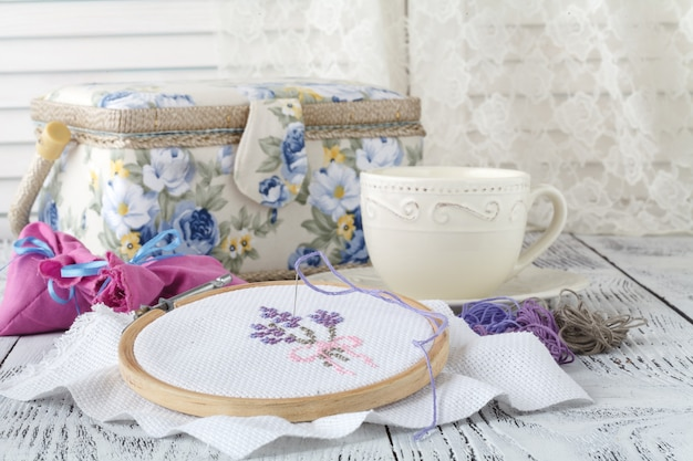 Needlework.yarn and thread for embroidering on cloth by hand on wooden surface