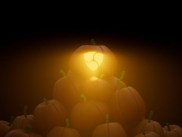 Nem 새겨진 호박 스택 더미 암호화 통화 3d 그림 렌더링 어두운 조명