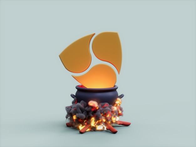 Nem cauldron fire cook crypto 통화 3d 그림 렌더링