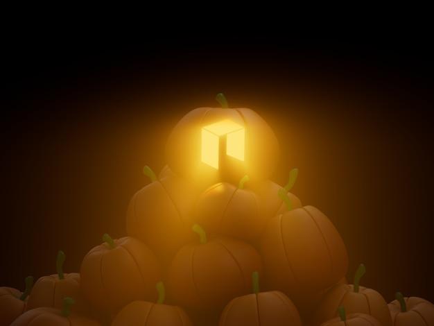 네오 새겨진 호박 스택 더미 암호화 통화 3d 그림 렌더링 어두운 조명