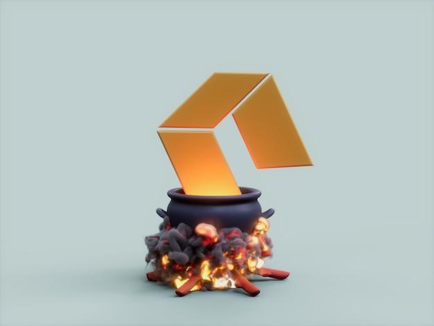 네오 가마솥 화재 요리사 암호화 통화 3d 그림 렌더링