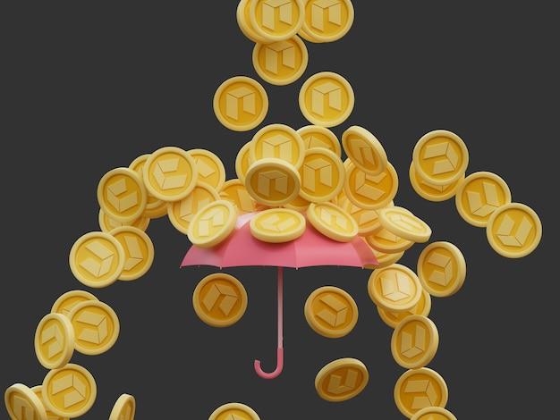 네오 코인 비가 암호화 통화 우산 히트 보호 커버 격리 된 3d 그림 개념 렌더링