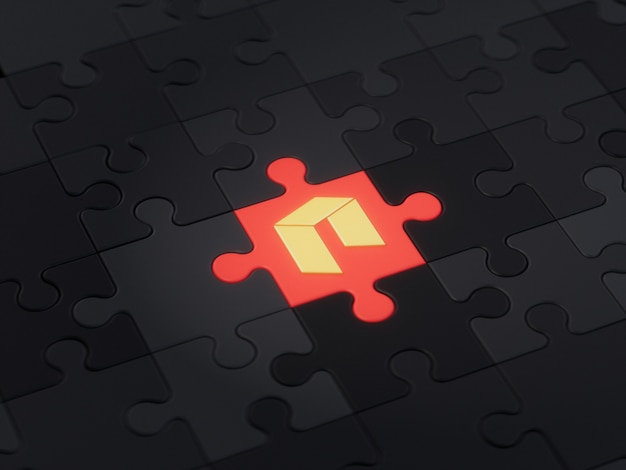 Neo different unique jigsaw puzzle piece crypto currency 3d illustration concept render