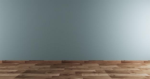 Neo mint empty room white on wooden floor interior