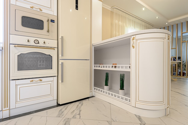 Neoclassic style luxury kitchen interior with island