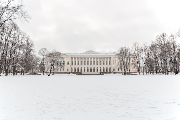 Neoclassical building in the park in winter.